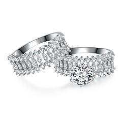 billige Motering-Syntetisk akvamarin Kubisk Zirkonium Band Ring Multi-fingerring Evigheten Ring - Blomst Vintage, Elegant 7 / 8 / 9 Sølv Til Bryllup Engasjement Seremoni