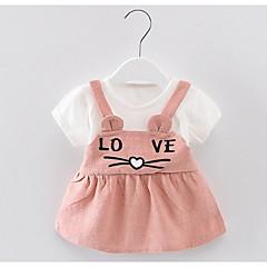 billige Babykjoler-baby pige geometriske kjole, polyester sommer korte ærmer gul rødme pink grøn 80 110 100 90