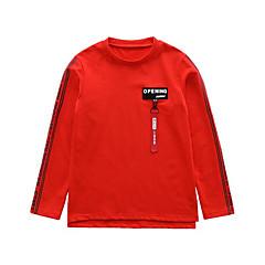 baratos Roupas de Meninos-Infantil Para Meninos Simples / Activo Sólido / Letra Estampado Manga Longa Algodão Camiseta / Fofo