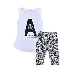 billige Tøjsæt til piger-Pige Daglig Ferie Trykt mønster Leopard Tøjsæt, Bomuld Sommer Uden ærmer Aktiv Hvid