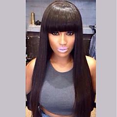 Χαμηλού Κόστους Χωρίς κάλυμμα-Ανθρώπινες περούκες περούκες μαλλιών Φυσικά μαλλιά Ίσιο Κούρεμα με φιλάρισμα Φυσική γραμμή των μαλλιών Φύση Μαύρο Μηχανοποίητο Περούκα Γυναικεία
