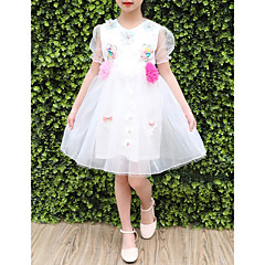 baratos Roupas de Meninas-Menina de Vestido Diário Para Noite Sólido Flor Verão Poliéster Manga Curta Fofo Princesa Azul Branco Rosa