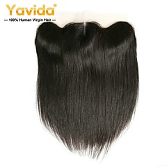 cheap Wigs & Hair Pieces-Yavida Peruvian Hair 4x13 Closure Straight Free Part Swiss Lace Human Hair All With Baby Hair / Soft / Silky Wedding / Gift / For Black Women