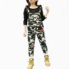 billige Bukser og leggings til piger-Børn Pige Blomster Fest Trykt mønster Bomuld Bukser Army Grøn 140