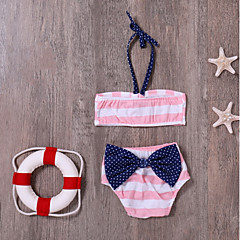 billige Badetøj-Baby / Spædbarn Pige Strand Stribet Polyester / Spandex Badetøj Hvid