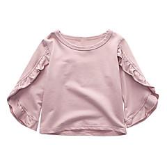 billige Pigetoppe-Børn Pige Ensfarvet Halvlange ærmer T-shirt