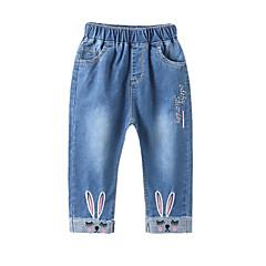 billige Jeans til piger-Børn Pige Aktiv Trykt mønster Broderi Bomuld Jeans