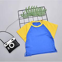 billige Pigetoppe-Børn Pige Farveblok Kortærmet T-shirt