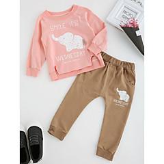 billige Tøjsæt til piger-Baby Pige Tegneserie Anden Langærmet Normal Normal Bomuld Tøjsæt Grøn