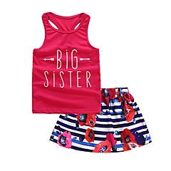 billige Sett med babyklær-Baby Pige Basale Daglig Farveblok Uden ærmer Kort Kort Bomuld Tøjsæt Rosa