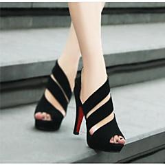 cheap Women's Heels-Women's PU(Polyurethane) Spring & Summer Comfort Heels Stiletto Heel Black