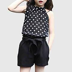 billige Tøjsæt til piger-Børn Pige Aktiv I-byen-tøj Prikker Uden ærmer Tøjsæt