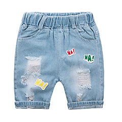 baratos Roupas de Meninas-Bébé Unisexo Estampado Jeans