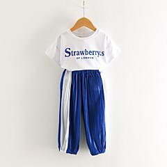 billige Tøjsæt til piger-Børn / Baby Pige Aktiv / Basale Sport Blå & Hvid Ensfarvet / Farveblok Krøllede Folder / Trykt mønster Halvlange ærmer Tøjsæt