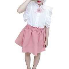 billige Tøjsæt til piger-Børn Pige Aktiv Jacquard Vævning Krøllede Folder Kortærmet Bomuld Tøjsæt
