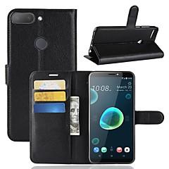 billige Telefoner og nettbrett-Etui Til HTC U11 / HTC Desire 12 Lommebok / Kortholder / Flipp Heldekkende etui Ensfarget Hard PU Leather til HTC U11 plus / HTC U11 Life