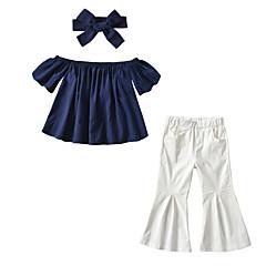billige Sett med babyklær-Baby Pige Aktiv / Punk & gotisk Daglig / I-byen-tøj Ensfarvet Flettet Kortærmet Kort Bomuld / Rayon / Polyester Tøjsæt Marineblå