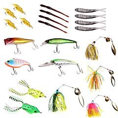 billiga Fiskbeten och flugor-22 pcs Lock förpackningar Hårt bete / Mjukt bete / Spinnfluga Plastik / Metall Sjöfiske / Färskvatten Fiske / Drag-fiske