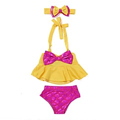 billige Babytøj-Baby / Spædbarn Pige Strand Trykt mønster Polyester / Spandex Badetøj Rosa 100