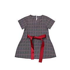 billige Pigekjoler-Børn Pige Basale Sort og hvid Houndstooth mønster Patchwork Kortærmet Over knæet Kjole