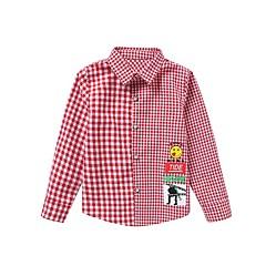 baratos Roupas de Meninos-Infantil Para Meninos Activo / Moda de Rua Houndstooth Manga Longa Curto Poliéster Camisa Preto