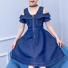 baratos Roupas de Meninas-Infantil Para Meninas Sólido Manga Curta Vestido