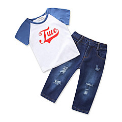 billige Tøjsæt til drenge-Børn Baby Drenge Farveblok Kortærmet Tøjsæt