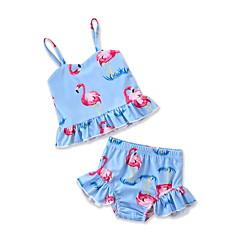 billige Badetøj til piger-Børn / Baby / Nyfødt Pige Flamingos Trykt mønster Uden ærmer Badetøj