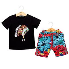 billige Sett med babyklær-Baby Unisex Afslappet / Boheme Sport Blomstret / Trykt mønster Blondér / Trykt mønster Kortærmet Bomuld Tøjsæt
