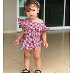 billige Babytøj-Baby Pige Aktiv / Basale Ferie Stribet / Ternet Åben ryg / Sløjfer Kort Ærme Bomuld Bodysuit