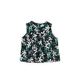 billige Babyoverdele-Baby Pige Aktiv Blomstret Uden ærmer T-shirt