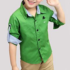 baratos Roupas de Meninos-Para Meninos Sólido Manga Longa Camisa