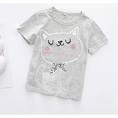 billige Pigetoppe-Baby Pige Aktiv Daglig Kat Geometrisk Trykt mønster Kortærmet Normal Bomuld / Polyester T-shirt Grå 100