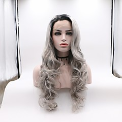 cheap Wigs & Hair Pieces-Synthetic Lace Front Wig Women's Wavy Dark Gray Layered Haircut Synthetic Hair Curler & straightener Dark Gray Wig Mid Length Lace Front Grey Skyworth / Yes