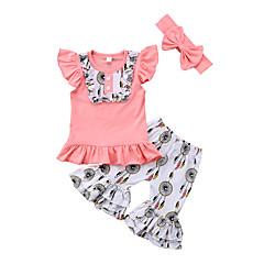 billige Tøjsæt til piger-Baby Pige Trykt mønster Patchwork Uden ærmer Kortærmet Tøjsæt