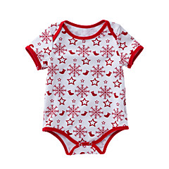 billige Babytøj-Baby Pige Geometrisk Kort Ærme Bodysuit