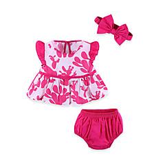 billige Sett med babyklær-Baby Pige Basale Ensfarvet Sløjfer Uden ærmer Kort Bomuld Tøjsæt