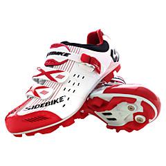 billige Sykkelsko-SIDEBIKE Mountain Bike-sko Karbonfiber Anti-Skli, Anvendelig, Pustende Sykling Rød og Hvit Dame