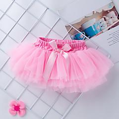 billige Babykjoler-Baby Pige Basale / Gade Daglig / Fødselsdag Ensfarvet Net Uden ærmer Kort Normal Over knæet Polyester Kjole Rosa