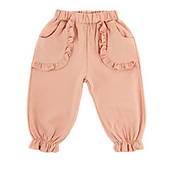billige Babyunderdele-Baby Pige Basale Ensfarvet Krøllede Folder Bomuld Bukser