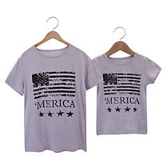 billige Sett med familieklær-Pappa og meg Bokstaver Kortermet T-skjorte
