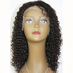 cheap Wigs & Hair Pieces-Remy Human Hair Lace Front Wig Indian Hair Curly Layered Haircut 130% Density With Baby Hair / For Black Women Black Short / Long / Mid