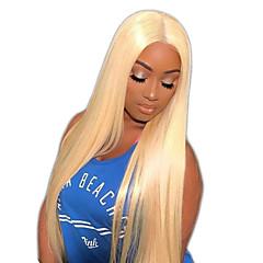 billiga Peruker och hårförlängning-Obehandlad hår Peruk Brasilianskt hår Rak 150% Densitet Med Babyhår / Naturlig hårlinje Blond Lång / Väldigt länge / Mellanlängd Dam Äkta
