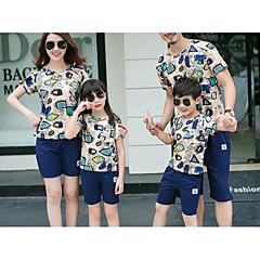billige Sett med familieklær-Barn Familie Look Aktiv / Grunnleggende Daglig / Ut på byen Geometrisk Trykt mønster Kortermet Normal Bomull T-skjorte Beige Jenter 130