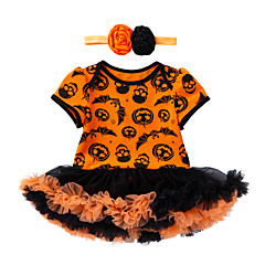 billige Babytøj-Baby Pige Trykt mønster Kort Ærme Bodysuit