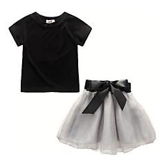 billige Tøjsæt til piger-Børn Pige Patchwork 3/4-ærmer / Kortærmet Tøjsæt