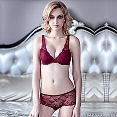 billige BH'er-Kvinner Sexy Sett med truse og BH Dytt opp / Blonde-BH / BH med bøyler 3/4 Kop - Ensfarget / Jacquardvevnad / Broderi