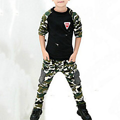baratos Roupas de Meninos-Infantil Para Meninos Activo / Moda de Rua Estampado / Retalhos Estampado Manga Longa Conjunto