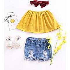 billige Babyoverdele-Baby Pige Basale Ensfarvet Uden ærmer Kort Bluse