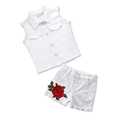 billige Sett med babyklær-Baby Pige Aktiv / Basale Daglig / I-byen-tøj Blomstret Broderi Uden ærmer Normal Spandex Tøjsæt Hvid